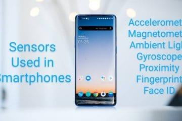 Sensors used in smartphones